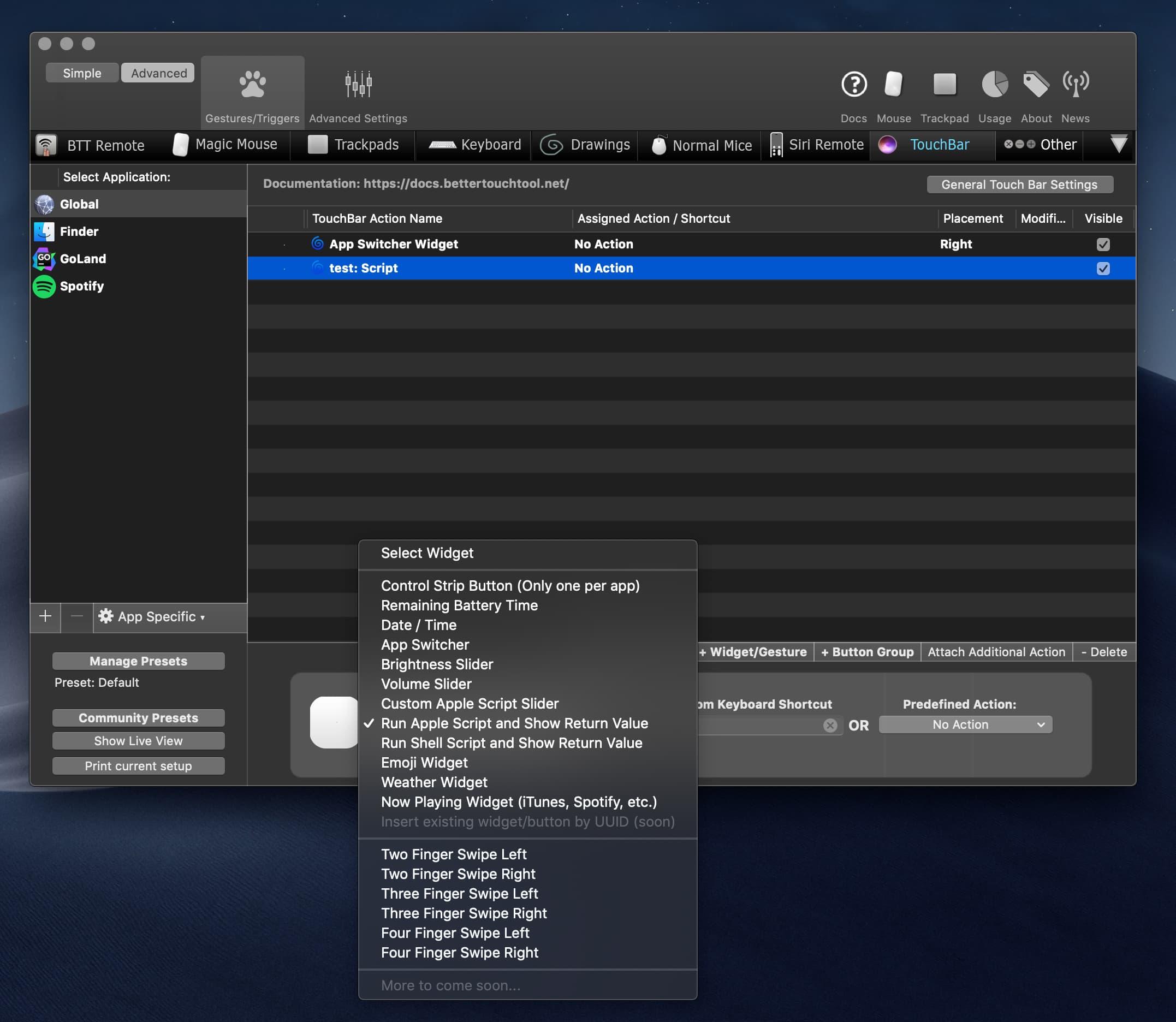 Widget hiển thị số order trên Touchbar với BetterTouchTool
